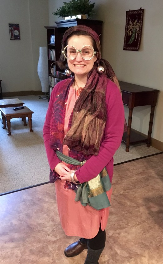 Here Beth is dressed as Divination Professor Sybill Trelawney (from Harry Potter).