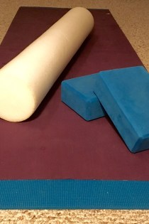 My practice space: yoga mats, blocks, and foam roller.
