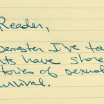 """Handwritten note saying, """"Dear Reader, Every semester I've taught, students have shared with me stories of sexual violence and survival."""""""
