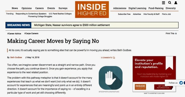 """Screenshot of the opening to """"Making Career Moves by Saying No"""" published in Inside Higher Ed's Carpe Careers advice column."""