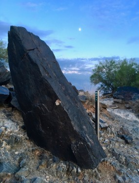 One large black rock sits at a diagonal, dominating the left-side of the photo. To its right is a trail marker (wooden stake in the ground). A green bush is to its right, and a light blue sky stretches above the rock, trail marker, and bush (with shades of blue becoming lighter toward the top).