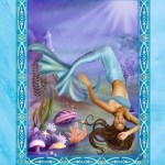 "This card from Doreen Virtue's ""Magical Mermaids and Dolphins"" oracle deck says ""Blessed Change"" in large letters at the top. An image appears below these letters and in the card's center showing a mermaid floating upside down among seaweed, coral, and shells. At the card's bottom appears the message: ""A major life change brings you great blessings."""