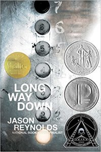 Book cover for Long Way Down by Jason Reynolds (2017, Atheneum/Caitlyn Dlouhy Books).