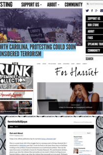 Compilation of feminist and womanist blogs: screenshots of the websites (1) Feministing, (2) The Crunk Feminist Collection, (3) For Harriet, and (4) Feminist Killjoys.