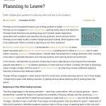 """Screenshot of the article """"Planning to Leave?"""" as it appears in Inside Higher Ed, showing the first few paragraphs and an icon of an arrow, representing exit from academia."""