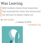 """This screenshot shows the start of the IHE article, """"What I Learned as I Was Leaving,"""" along with the stock photo of a woman opening a key-shaped door."""