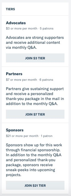 """This screenshot from Patreon shows the 3 tiers of support described in the blog post with buttons to """"join"""" each tier."""