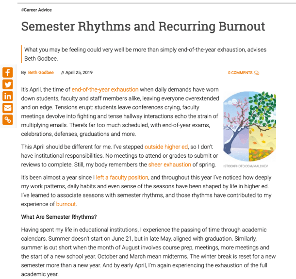 "This screenshot shows the start of the Inside Higher Ed article ""Semester Rhythms and Recurring Burnout,"" including the byline, first four paragraphs, and image of seasonal change."