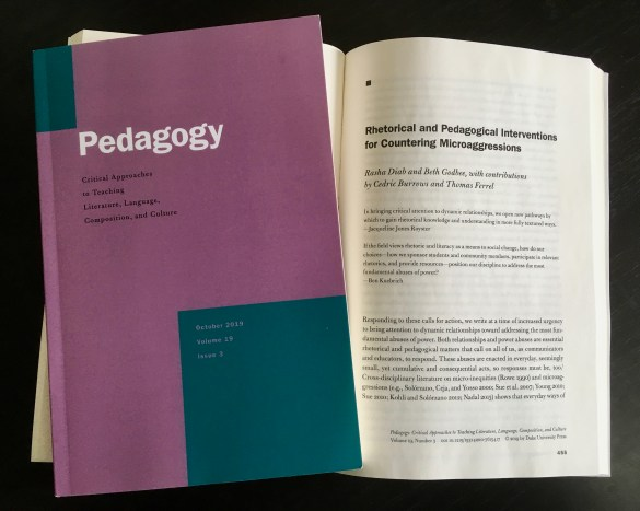 "The article ""Rhetorical and Pedagogical Interventions for Countering Microaggressions"" as it appears in the print publication of Pedagogy."