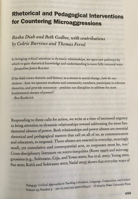 "The front page of the article ""Rhetorical and Pedagogical Interventions for Countering Microaggressions"" by authors Rasha Diab and Beth Godbee, with contributions by Cedric Burrows and Thomas Ferrel."