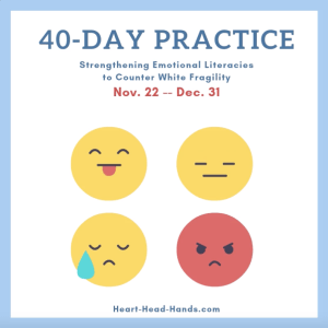 "Along with showing 4 emoticons representing different emotions, this flyer reads, ""40-Day Practice: Strengthening Emotional Literacies to Counter White Fragility. Nov. 22 – Dec. 31."""