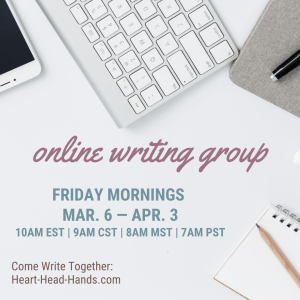 """This image shows writing tools (phone, keyboard, journal, pencil, and pen) along with the event information: """"Online Writing Groups. Friday mornings Mar. 6th -- Apr. 3rd, 10am EST   9am CST   8am MST   7am PST. Come Write Together: Heart-Head-Hands.com."""""""