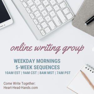 "This image shows writing tools (phone, keyboard, journal, pencil, and pen) along with the event information: ""Online Writing Groups. Weekday Mornings, 5-Week Sequences, 10am EST 
