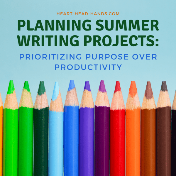 "This image shows a row of colored pencils, fading in color from green to brown, against a teal background. The top half shares the workshop's title: ""Planning Summer Writing Projects: Prioritizing Purpose over Productivity."""