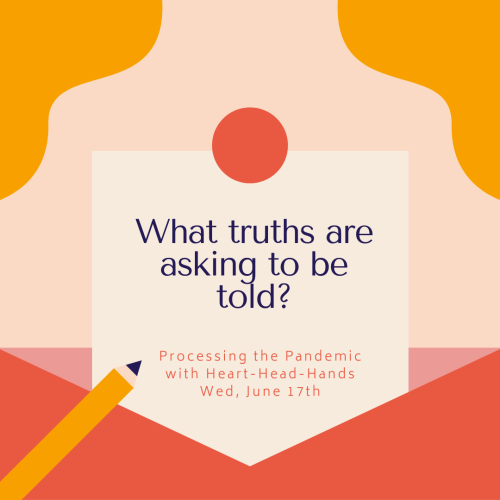 "This image shares this week's question—""What truths are asking to be told?""—along with meeting information: ""Processing the Pandemic with Heart-Head-Hands. Wed, June 17th."" Text appears in a central box that looks like a letter partially out of an envelope. The colors are red, orange, and yellow."