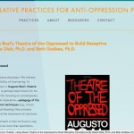 "This screenshot shows the online article ""Forum Theatre: Using Boal's Theatre of the Oppressed to Build Receptive Competence by Rasha Diab, Ph.D. and Beth Godbee, Ph.D.,"" part of the website Contemplative Practices for Anti-Oppression Pedagogy. It shows a paragraph of text against a blue background and the black, red, and white book cover of Augusto Boal's Theatre of the Oppressed."