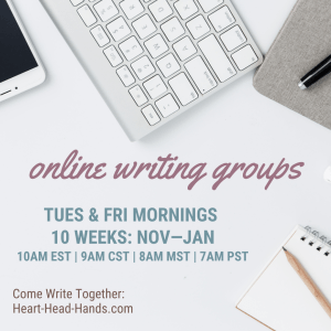 "This image shows writing tools (phone, keyboard, journal, pencil, and pen) along with the event information: ""Online Writing Groups. Tues & Fri mornings. 10 Weeks: Nov-Jan, 10am EST 