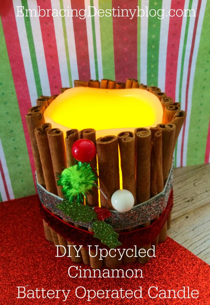 DIY upcycled cinnamon battery operated candle. Step by step with photos. LED candle from dollar store. Super cute and simple! heartandsoulhomeschooling.com