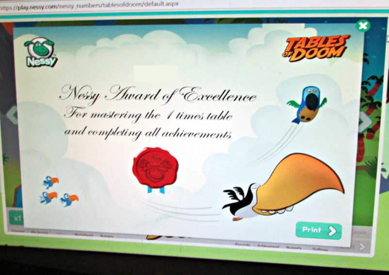 Nessy certificate | homeschool review