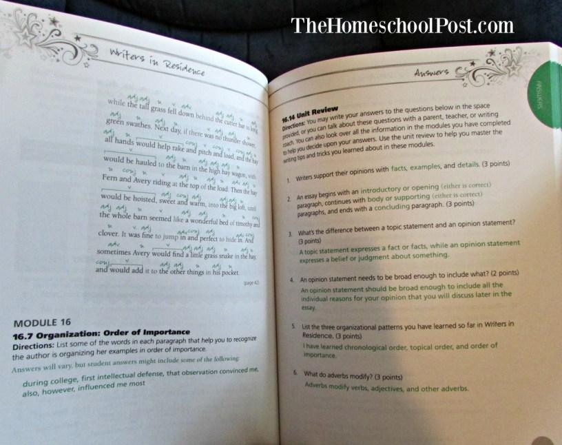 Writers in Residence homeschool writing curriculum teacher manual