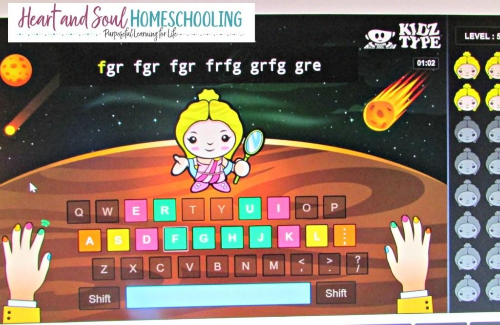 free typing games online at KidzType