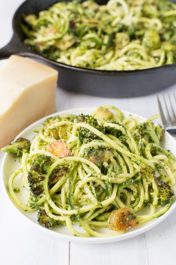 Pesto Zoodles with Roasted Broccoli and Crispy Potatoes | Heart & Stove
