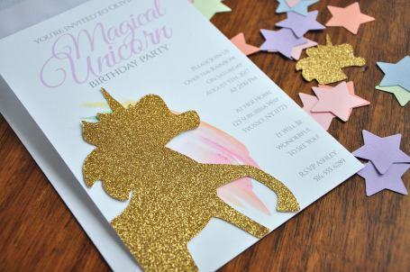 ConfettiMamaParty Unicorn Party Invites