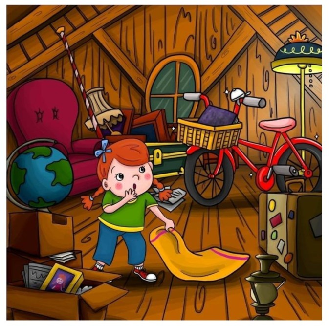 Finding treasures in the attic in Abigail and the Jungle Adventure