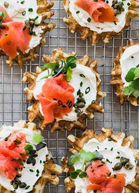 Savory Mini Waffles with Lox and Cream Cheese