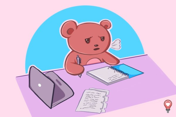 Why is this little cartoon bear experiencing challenges with content? Is it that he doesn't have enough time?