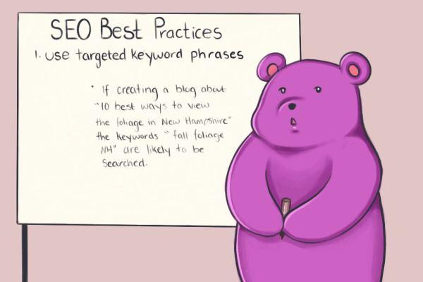 SEO best practices cartoon drawing