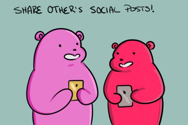 these little bears like to share posts on social media