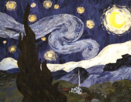 """A 100% wool rendition of Vincent Van Gogh's """"The Starry Night."""""""