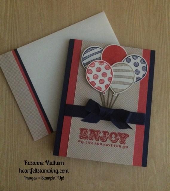 Stampin Up Balloon Adventures Birthday Card idea - Rosanne Mulhern stampinup
