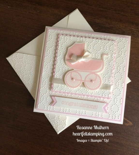 Stampin Up Sweet Baby Girl Card Idea - Rosanne Mulhern
