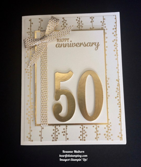 Stampin Up Large Numbers Anniversary Card Idea- Rosanne Mulhern