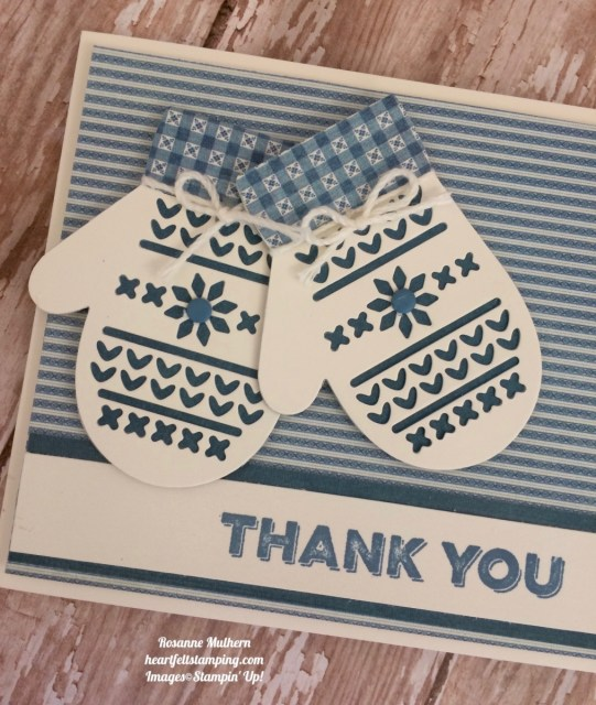 Stampin Up Smitten Mittens Thank You Card - Rosanne Mulhern