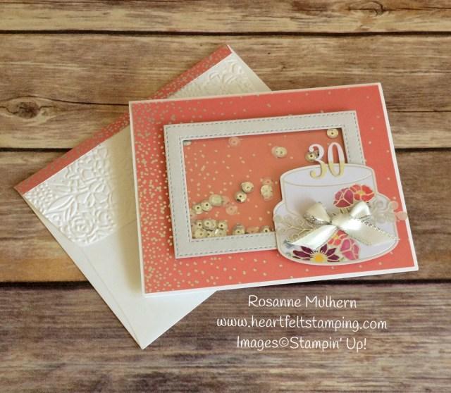 Stampin Up Sweet Soiree Shaker Birthday Card - Rosanne Mulhern