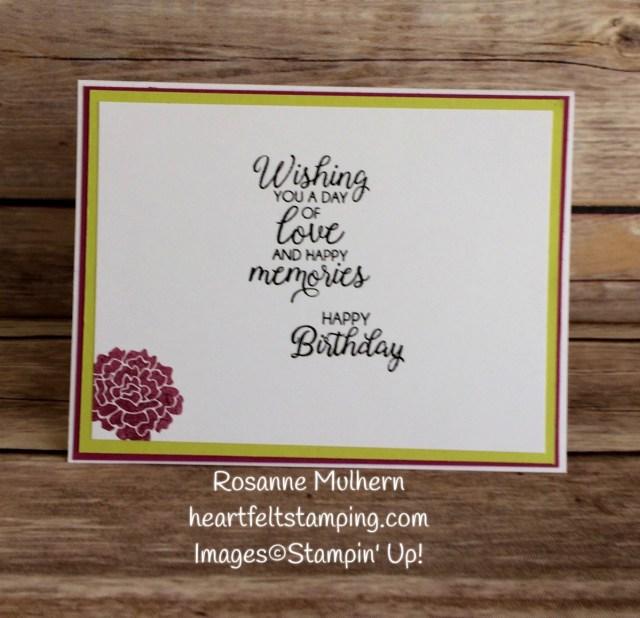 Stampin Up Beautiful Bouquet Birthday Card Idea -Rosanne Mulhern Heartfelt Stamping