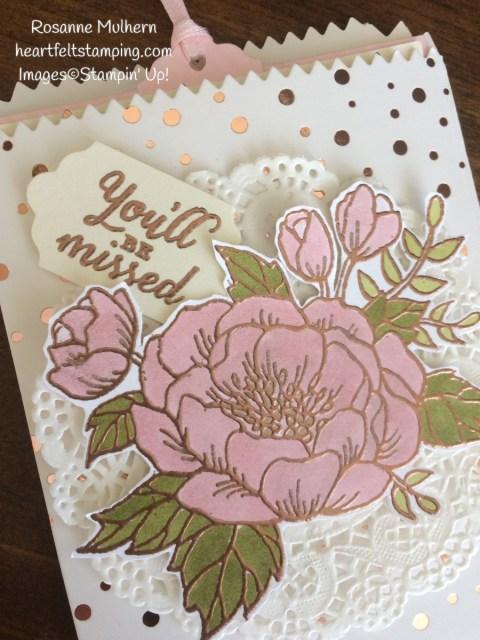 Stampin Up Birthday Blooms Mini Treat Bag Gift Cards Holder - Rosanne Mulhern Heartfelt Stamping