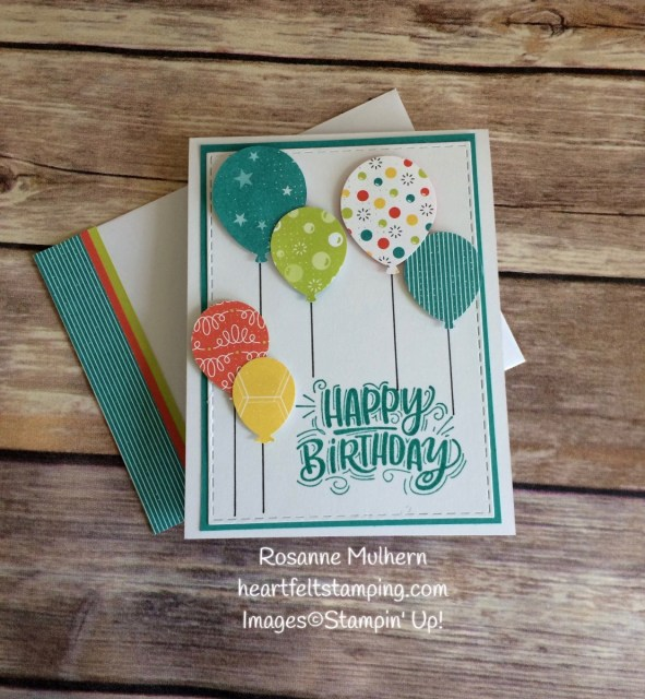 Stampin Up Bubbles and Fizz Balloon Birthday Card - Rosanne Mulhern Heartfelt Stamping