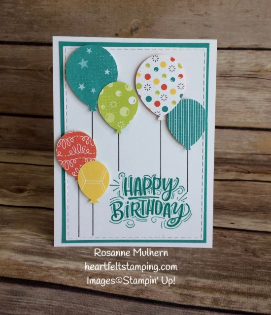 Stampin Up Bubbles and Fizz Balloon Birthday Card- Rosanne Mulhern Heartfelt Stamping
