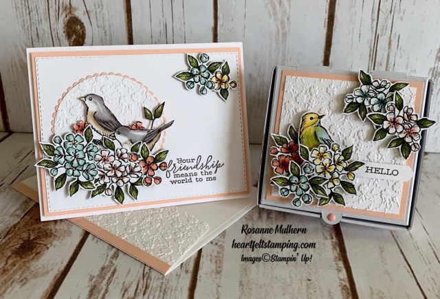 Stampin Up Free as a Bird Friendship Card and Pizza Box Gift- Rosanne Mulhern stampinup