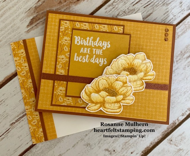 Stampin Up Tasteful Touches Birthday Card Idea - Rosanne Mulhern stampinup