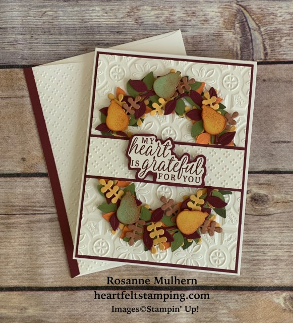 Stampin' Up! Arrange a Wreath Fall Thank You Cards Idea -Rosanne Mulhern stampinup