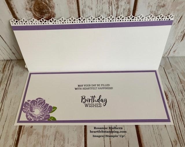 Stampin Up Floral Essence Slimline Birthday Card Idea- Rosanne Mulhern stampinup