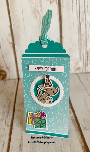 Stampin Up Kangaroo and Company Slimline Birthday Tag - Rosanne Mulhern stampinup