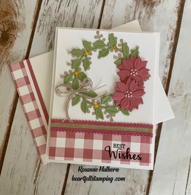 Stampin Up Buffalo Checked Wreath Card Idea- Rosanne Mulhern stampin up