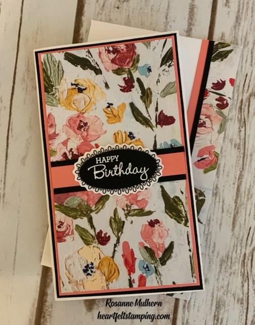 Stampin Up Fine Art Floral Mini Slimline Card Ideas-Rosanne Mulhern stampinup