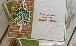 Stampin Up Plentiful Plants Hanging Basket Thank You Card Idea- Rosanne Mulhern stampinup